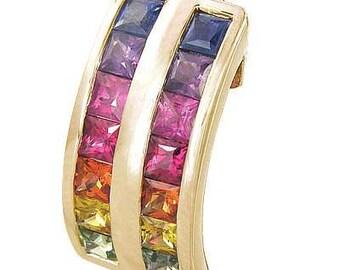 Multicolor Rainbow Sapphire Double Row Pendant 18K Yellow Gold (2.3ct tw) SKU: 1504-18K-Yg