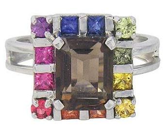 Multicolor Rainbow Sapphire & Smoky Quartz Rubix Cube Ring 14K White Gold (3.26ct tw) SKU: 1618-14K-Wg