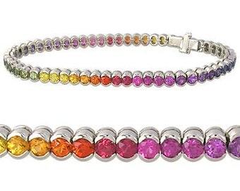 Multicolor Rainbow Sapphire Bezel Set Tennis Bracelet 925 Sterling Silver  : sku 1571-925