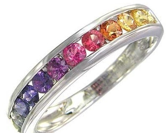 Multicolor Rainbow Sapphire Half Eternity Band Ring 925 Sterling Silver : sku 663-925