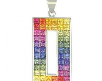 Multicolor Rainbow Sapphire Invisible Set Rectangle Pendant 18K White Gold (11ct tw) SKU: 1374-18K-Wg