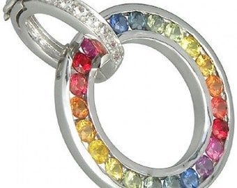 Multicolor Rainbow Sapphire & Diamond Round Pendant 925 Sterling Silver (1.57ct tw) SKU: 938-925