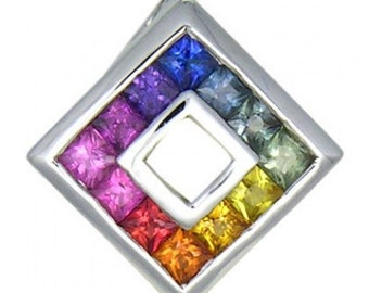 Multicolor Rainbow Sapphire Small Square Pendant 14K White Gold (3/4ct tw) SKU: 436-14K-Wg