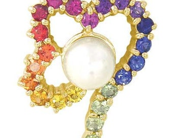 Multicolor Rainbow Sapphire & Pearl Heart Shape Pendant 14K Yellow Gold (3/4ct tw) SKU: 1510-14K-Yg