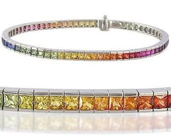 Multicolor Rainbow Sapphire Tennis Bracelet 14K White Gold (8ct tw) : sku BRC225-24-14k-wg