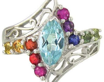 Multicolor Rainbow Sapphire and Marquise Topaz Womens Ring 925 Sterling Silver  : sku 1576-925