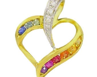 Multicolor Rainbow Sapphire & Diamond Heart Shape Pendant 14K Yellow Gold (1/2ct tw) SKU: 1455-14K-Yg