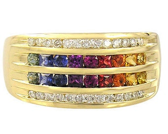 MulticolorRainbow Sapphire & Diamond Multi Shape Band Ring 14K Yellow Gold (1.35ct tw) SKU: 1523-14K-Yg