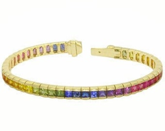 Multicolor Rainbow Sapphire Tennis Bracelet 18K Yellow Gold (8ct tw) : sku BRC225-24-18k-yg