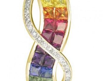 Multicolor Rainbow Sapphire & Diamond Pendant Invisible Set Double Row 14K Yellow Gold (3.1ct tw) SKU: 718-14K-Yg