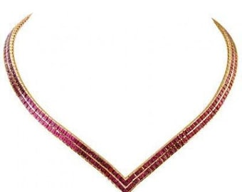 Multicolor Rainbow Sapphire Double Row Tennis Necklace 18K Yellow Gold (30ct tw) SKU: 1540-18K-Yg