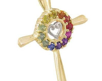 Multicolor Rainbow Sapphire Heart Crucifix Religious Pendant 18K Yellow Gold (0.6ct tw) SKU: 1573-18K-Yg