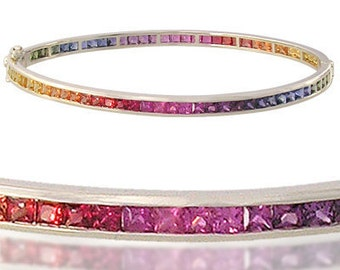 Multicolor Rainbow Sapphire Eternity Oval Bangle 14K White Gold (8ct tw) SKU: 1520-14K-Wg