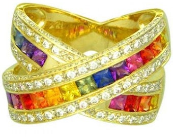 Multicolor Rainbow Sapphire & Diamond Large Crossover Ring 14K Yellow Gold (3.5ct tw) : sku 628-yellow-14K