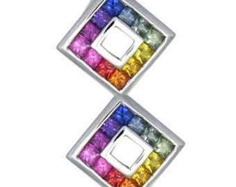 Multicolor Rainbow Sapphire Double Small Square Pendant 14K White Gold (1.5ct tw) SKU: 525-14K-Wg