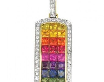 Multicolor Rainbow Sapphire & Diamond Invisible Set Triple Row Pendant 14K Yellow Gold (5.05ct tw) SKU: 623-14K-Yg