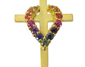 Multicolor Rainbow Sapphire Heart on Cross Pendant 14K Yellow Gold (3/4ct tw) SKU: 1463-14K-Yg