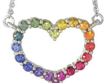 Multicolor Rainbow Sapphire Necklace Heart Design 18K White Gold (2ct tw): sku 1541-18K-WG