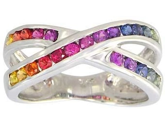 Multicolor Rainbow Sapphire Crossover Ring 14K White Gold (1.2ct tw) : sku 470-14k-wg