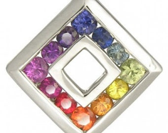 Multicolor Rainbow Sapphire Small Square Pendant 925 Sterling Silver (3/4ct tw) SKU: 436-925