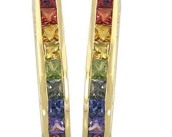 Multicolor Rainbow Sapphire Earrings J Hoop Huggie 14K Yellow Gold (2ct tw) SKU: 1557-14K-Yg