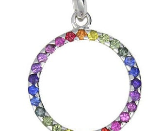 Multicolor Rainbow Sapphire Circle Pendant 925 Sterling Silver: sku 335-925