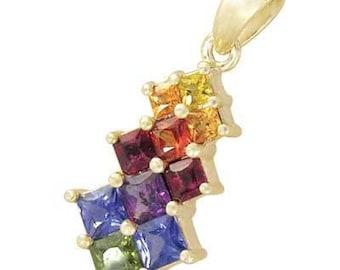 Multicolor Rainbow Sapphire Princess Cut Journey Pendant 18K Yellow Gold (1.15ct tw) SKU: 1466-18K-Yg