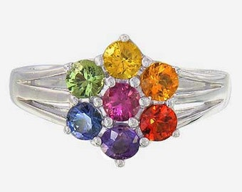 Multicolor Rainbow Sapphire Flower Cluster Ring 925 Sterling Silver (1.5 ctw): sku 1819-925