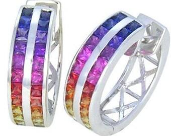 Multicolor Rainbow Sapphire Earrings Double Row Huggie 14K White Gold (5ct tw) : sku 437-14k-wg