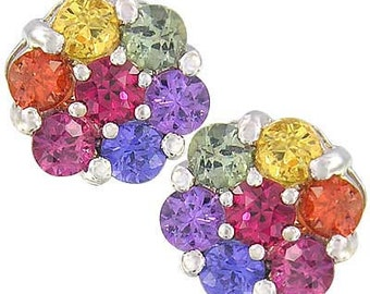Multicolor Rainbow Sapphire Earrings Flower Cluster 925 Sterling Silver  : sku 1617-925
