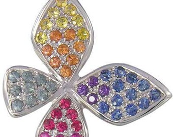 Multicolor Rainbow Sapphire Stylish Butterfly Pendant 925 Sterling Silver (1.07ct tw) SKU: 1542-925