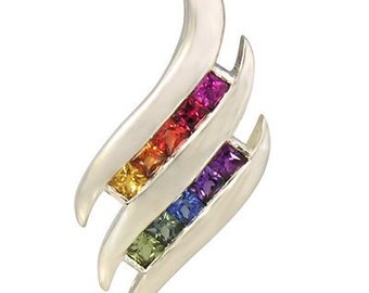 Multicolor Rainbow Sapphire Double Swirl Fancy Pendant 14K White Gold (3/4ct tw) : sku 1454-14k-wg