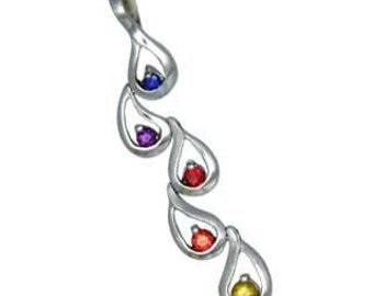 Multicolor Rainbow Sapphire Journey Pendant 18K White Gold (1/2ct tw) SKU: 392-18K-Wg