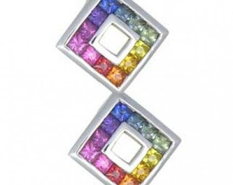 Multicolor Rainbow Sapphire Double Small Square Pendant 18K White Gold (1.5ct tw) SKU: 525-18K-Wg