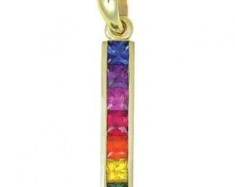 Multicolor Rainbow Sapphire Long Bar Pendant 14K Yellow Gold (1.3ct tw) SKU: 540-14K-Yg
