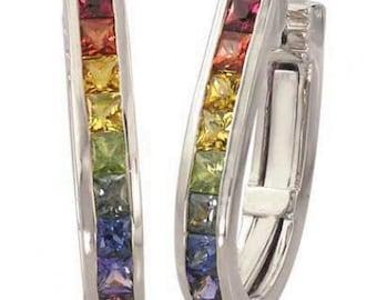 Multicolor Rainbow Sapphire Earrings J Hoop Huggie 18K White Gold (2ct tw) SKU: 1557-18K-Wg