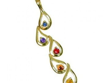 Multicolor Rainbow Sapphire Journey Pendant 18K Yellow Gold (1/2ct tw) SKU: 392-18K-Yg