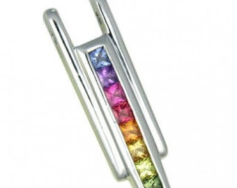 Multicolor Rainbow Sapphire Bar Pendant 18K White Gold (1.2ct tw) SKU: 309-18K-Wg