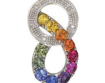 Multicolor Rainbow Sapphire & Diamond Round Friendship Pendant 14K White Gold (1.28ctw) SKU: 1568-14K-Wg