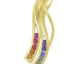 Multicolor Rainbow Sapphire Slide Pendant 14K Yellow Gold : sku 1574-14K-YG