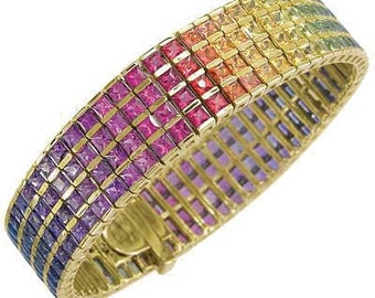 Multicolor Rainbow Sapphire Channel Set 4 Row Tennis Bracelet 18K Yellow Gold (40ct tw) SKU: 1572-18K-Yg