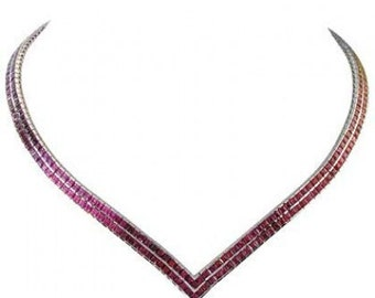 Multicolor Rainbow Sapphire Double Row Tennis Necklace 18K White Gold (30ct tw) SKU: 1540-18K-Wg