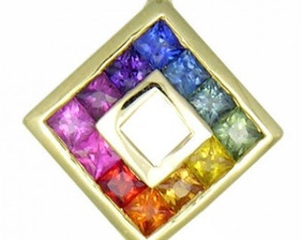 Multicolor Rainbow Sapphire Small Square Pendant 14K Yellow Gold (3/4ct tw) SKU: 436-14K-Yg