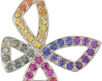 Multicolor Rainbow Sapphire Classic Butterfly Pendant 925 Sterling Silver (0.87ct tw) SKU: 1543-925