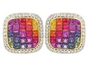 Multicolor Rainbow Sapphire & Diamond Invisible Set Earrings 14K Yellow Gold (4.5ct tw) SKU: 430-14K-Yg