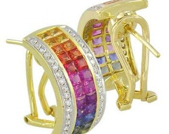 Multicolor Rainbow Sapphire & Diamond Invisible Set Huggie Earrings 18K Yellow Gold (8.75ct tw) SKU: 1534-18K-Yg