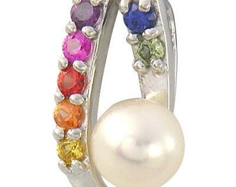 Multicolor Rainbow Sapphire & Pearl Fancy Pendant 925 Sterling Silver (3/4ct tw) : sku 1507 - 925