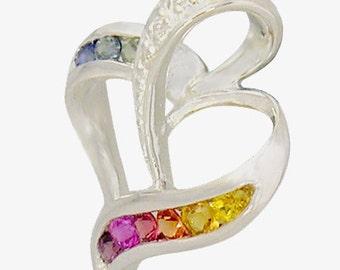 Multicolor Rainbow Sapphire & Diamond Heart Shape Pendant 18K White Gold (1/2ct tw) SKU: 1455-18K-Wg