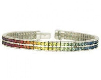Multicolor Rainbow Sapphire Double Row Tennis Bracelet 925 Sterling Silver 16ct tw SKU 903 925