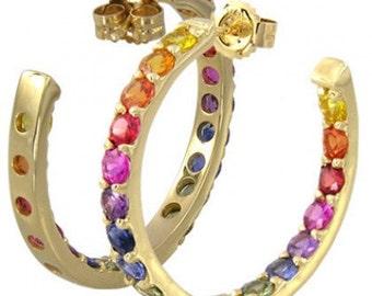 Multicolor Rainbow Sapphire Earrings Inside Outside 1 Inch Hoop 14K Yellow Gold (4ct tw) SKU: 1518-14K-Yg